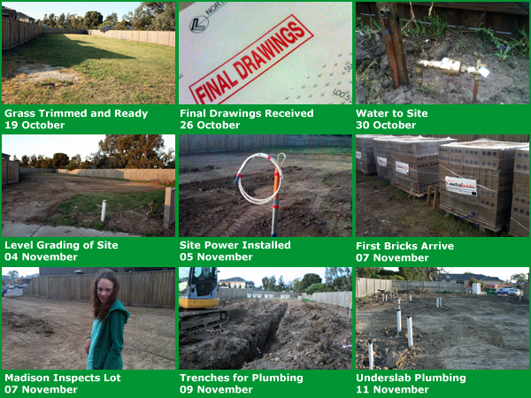 Montage of early house building photos in November 2010